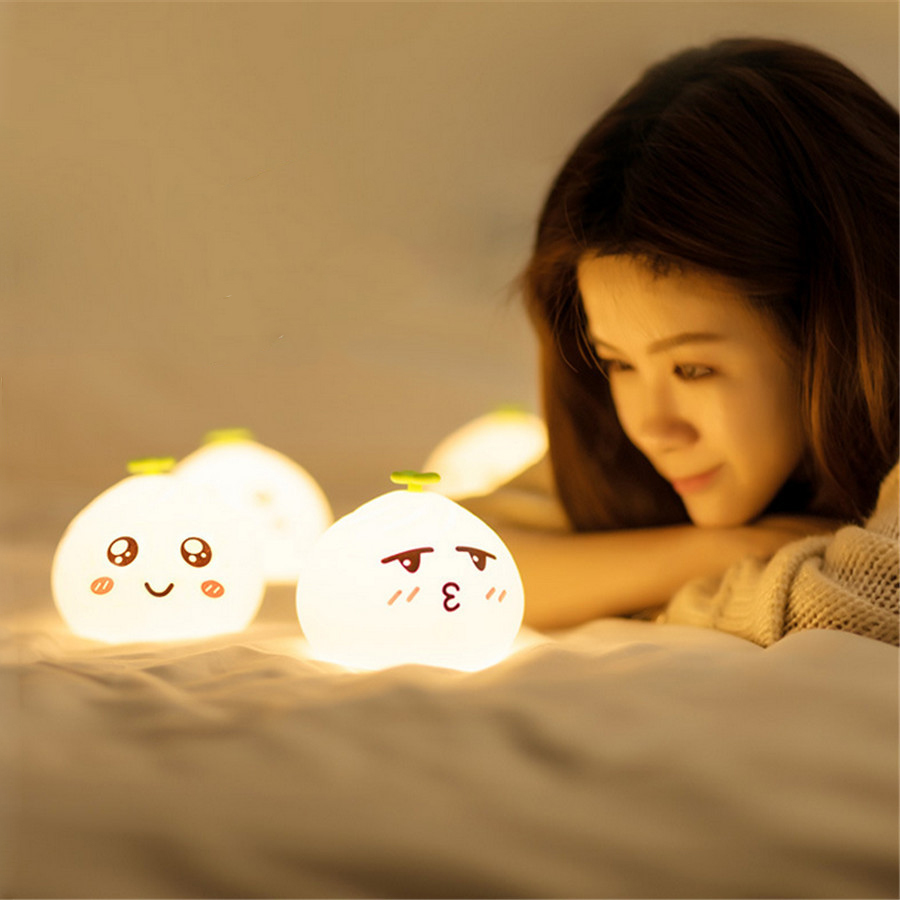 Colorful buns LED Night Light USB Rechargeable Silicone Soft Cartoon Touch Children Night Lamp Bedroom gift stress reliever