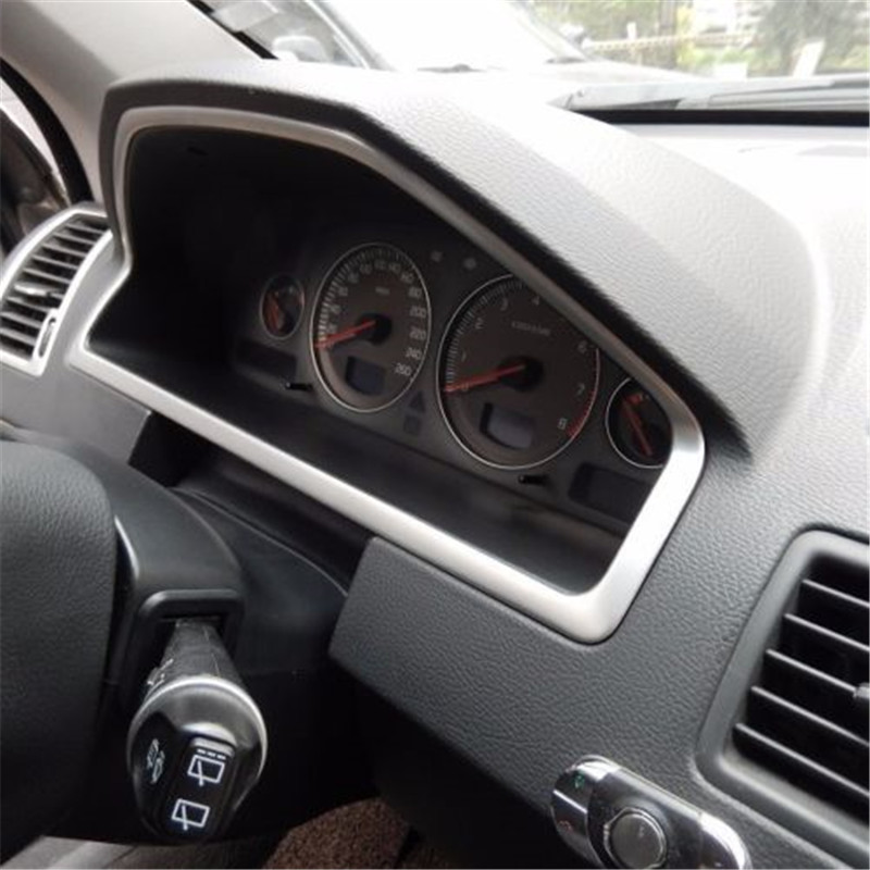 Stainless Steel Style Car Interior Dashboard Console Panel Frame Cover Trim Decoration for Volvo XC90 1st Generation 2002-2014 car styling head light switch panel decoration frame cover trim dashboard decal stainless steel sticker for audi q3 2013 2017