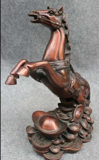 """SCY bir 005100 10 """"พื้นบ้านจีนปีนักษัตรมั่งคั่งบรอนซ์กระโดดขึ้นม้าในY Uanbaoรูปปั้นเหรียญ"""