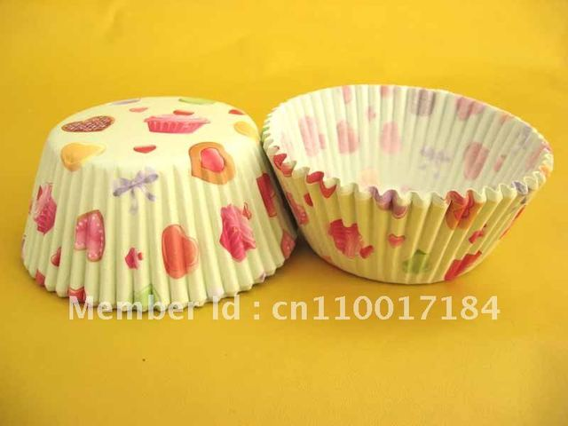 500pcs pink heart & cake pattern cupcake liners baking cup case