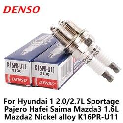 4 sztuk/zestaw DENSO świeca zapłonowa samochodu dla Hyundai 1 2.0/2.7L Sportage Pajero Hafei Saima Mazda3 1.6L Mazda2 stop niklu K16PR-U11