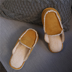 Image 4 - Vintage British Style Couple Home Slippers Men Women Winter Warm Faux Suede Vamp Wool lining Solid Color Indoor Floor House Shoe