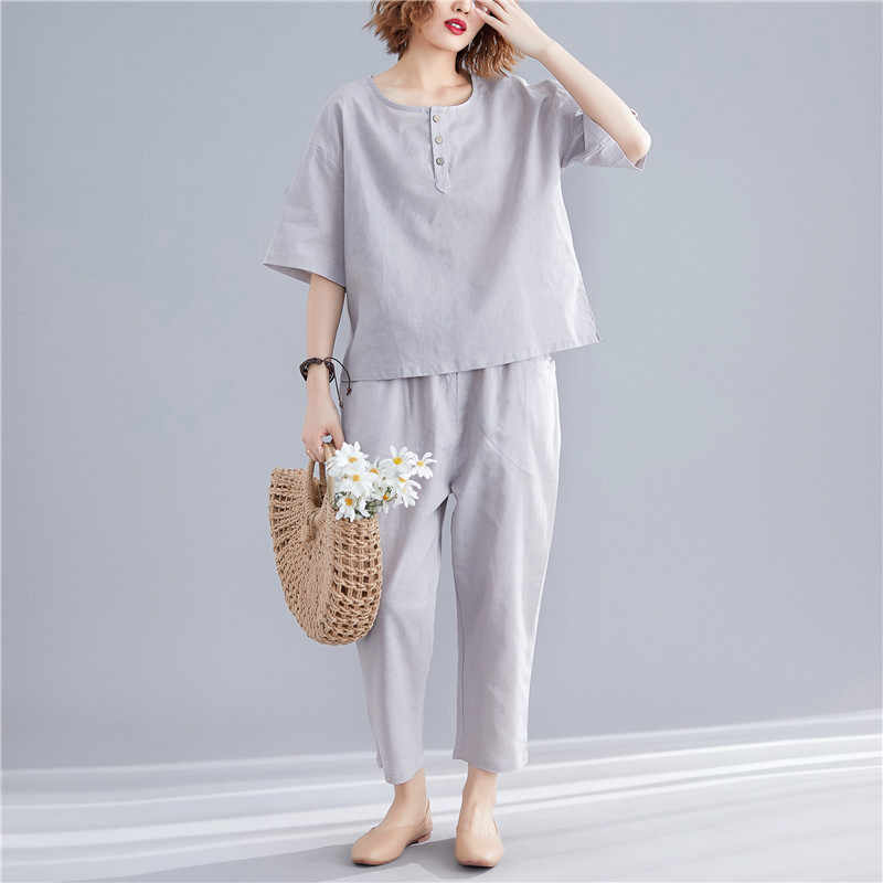 Johnature 2019 Casual Solid Color Two Pieces Womens Sets Summer New Loose Half Sleeve Tops Elastic Wiast Pant Women Sets