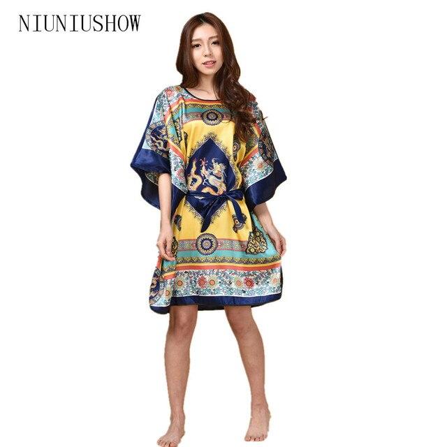 Hot Sale Chinese Women s Silk Sleepwear Robe Summer Lounge Home Dress  Printed Flower Peaco Yukata Nightgown e15ee7e52