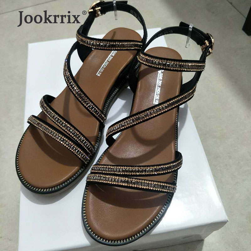 Jookrrix Women 2019 Brand Rhinestone Flat Shoes Lady Genuine Leather Summer Sandals Girl Fashion Rome Style Girl BlackJookrrix Women 2019 Brand Rhinestone Flat Shoes Lady Genuine Leather Summer Sandals Girl Fashion Rome Style Girl Black