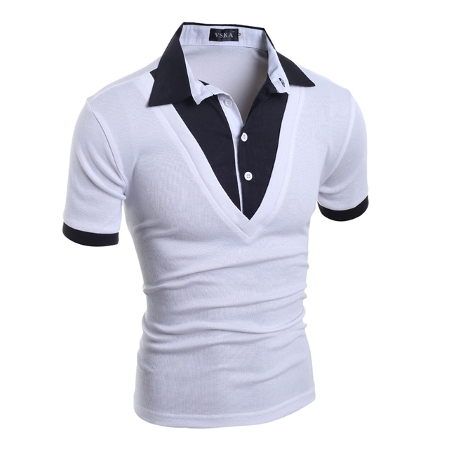 Mens Polo Shirt Brands 2018 Male Short Sleeve Fashion Casual Slim Fake Two Button Polos Men Jerseys  2XL PORU