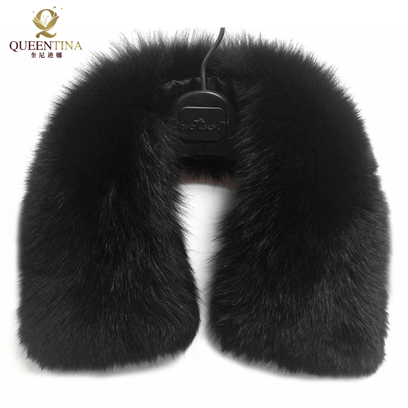 Hot Sale Real Fur Fox Fur Collar Black Women   Scarf   Shawl Collars   Wraps   Shrug Neck Winter Warm Ring Fur   Scarf   Female Wholesale