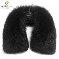 Hot Sale Real Fur Fox Fur Collar Black Women Scarf Shawl Collars Wraps Shrug Neck Winter Warm Ring Fur Scarf Female Wholesale