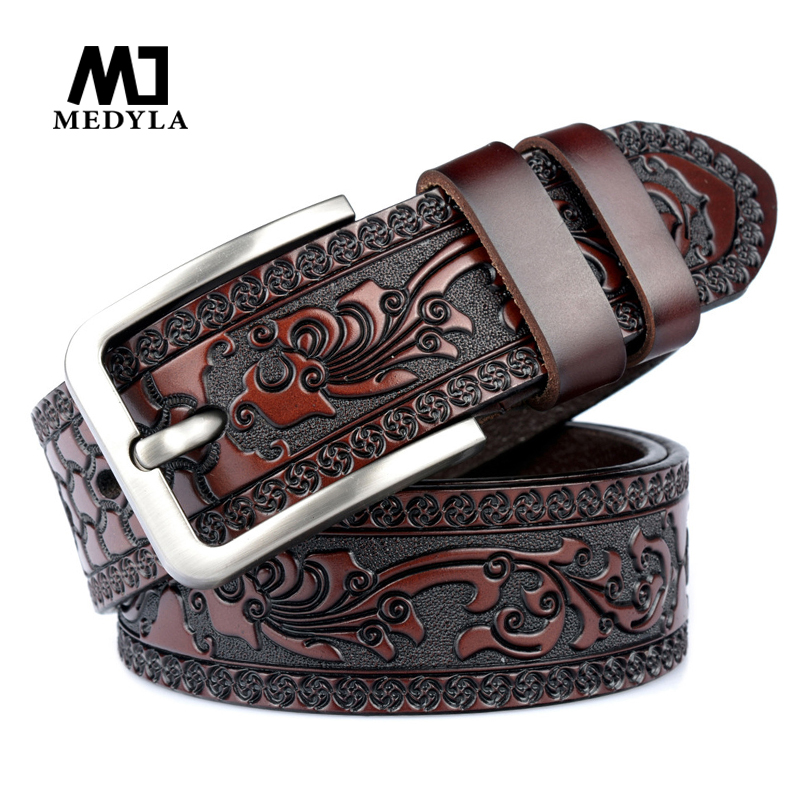 MEDYLA Belts For Men High Quality Cow Genuine Leather Embossing Belt Male Fashion Classic Vintage Pin Buckle Strap For