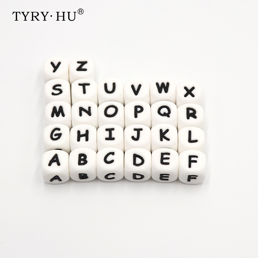 TYRY.HU 1pc 12mm Silicone Teething Alphabet Letter Beads Silicone Bead For Personalized Name Decklace DIY Silicone Letter 10pc cube silicone letter beads personalized name letter bracelet chewing alphabet beads food grade silicone 12mm