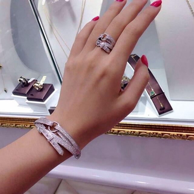 2018 נשים צמיד צמידי טבעות פאנק אופנה קריסטל חגורת עיצוב כסף תכשיטי סט צמידים & צמידי 7851/Ap /M/5544
