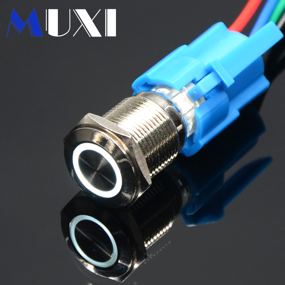 16 мм самоблокирующийся водонепроницаемый металлический кнопочный переключатель с светодиодный светильник 3 в 5 в 6 в 12 В 24 в 36 в 48 в 110 В 220 в красный синий зеленый оранжевый