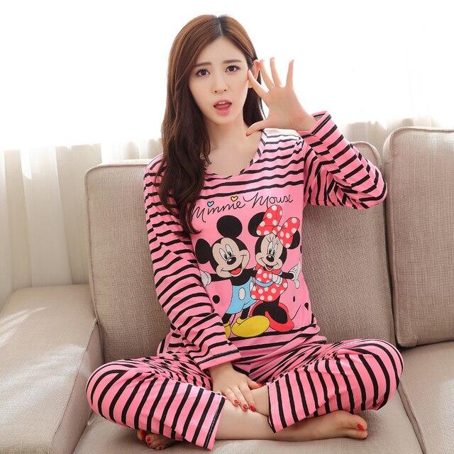 c9ecd8e25 Al por mayor Conjuntos de pijama manga larga mujeres pijama primavera otoño  algodón cartón pijama mujer