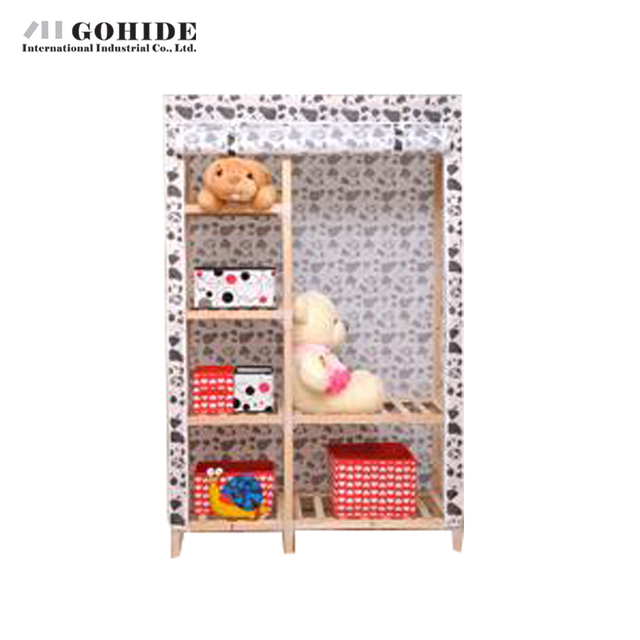 Gohide Wooden Simple Solid Cloth Folding Easy Wardrobe Furniture Wardrobes With Simple Lockers For Bedroom