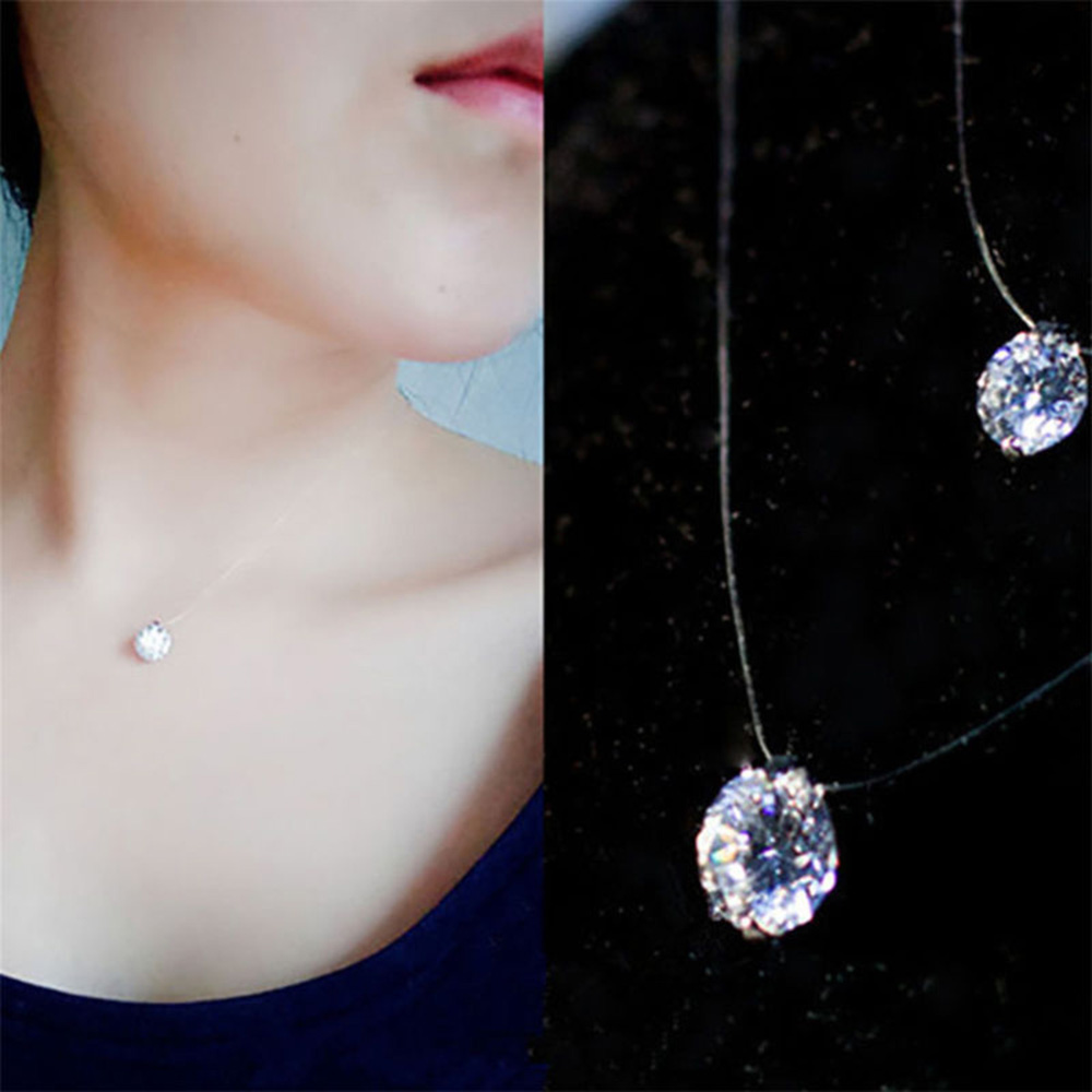 Women Fashion Crystal Necklace Invisible Line Zircon Clavicle Chain Accessories