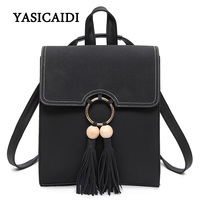 Women Fashion Backpacks For College Girls Leisure School Bags For Teenagers Black Pu Leather Waterproof Female