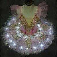 LED Ballet Tutu Ballerina Children Swan Lake Ballet Dress Pink Blue Child Girls Dance Light Up Leotard Tutu ballet Dress Girl