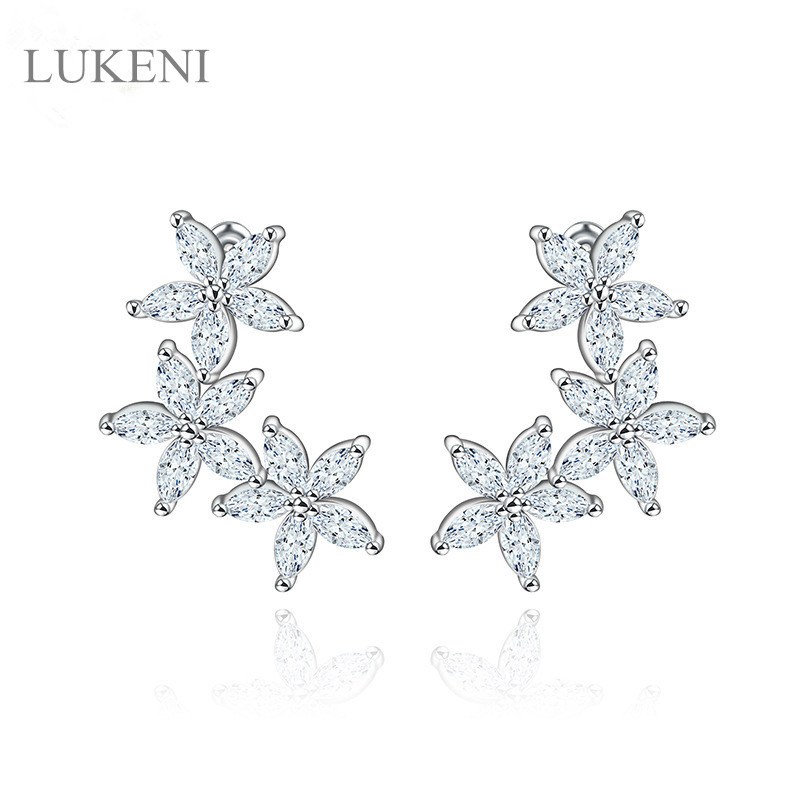 LUKENI New Design White AAA Cubic Zircon Five Leaf Flower Classic Brilliant Sweety Stud Earrings For Gril To Gift JEWELRY