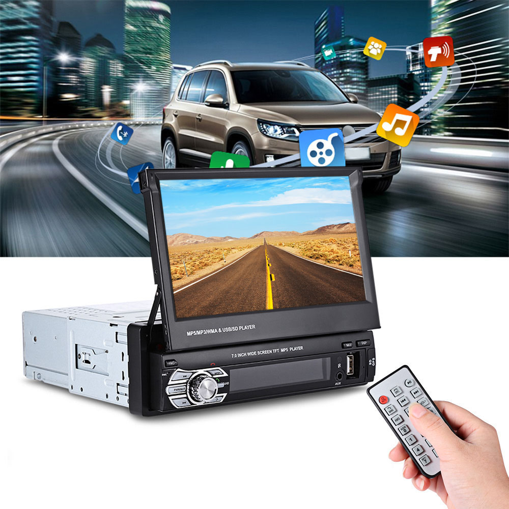 Car Multimedia Player 9601G 1 Din Car Video MP5 Player 7 Inch HD Touch Screen Bluetooth FM Radio European GPS Map USB Autoradio joyous j 2611mx 7 touch screen double din car dvd player w gps ipod bluetooth fm am radio rds