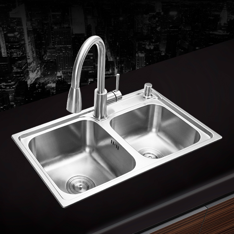 Здесь продается  680*390*220mm 304 Stainless steel brushed seamless undermount kitchen sink set three bowl Drawing drainer Handmade welding sink  Строительство и Недвижимость