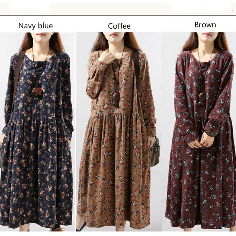 2016 Winter Autumn Casual Maternity Dress Retro Pregnancy Dresses Floral Print Pregnant Women Loose Ropa Premama Clothes CE208