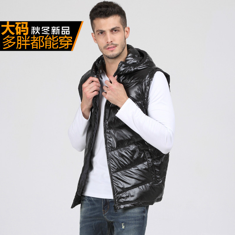 Bright New Arrival Obese Winter With A Hood Outerwear Thermal Men Down Vest Plus Big Size Xl - 5xl 6xl 7xl 8xl 9xl 10xl 11xl 12xl 13xl