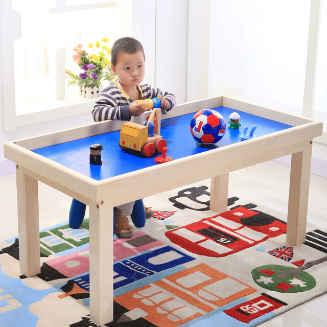Children's game desk puzzle solid wood toys to play the game table.