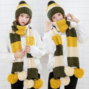 Image 2 - Mode Geschenk Warm Woolen Winter Frauen Caps Und Schals Elegante Schal Hut Set Frauen 2 Arten Von Kappe Schal Sets lange Damen Schals