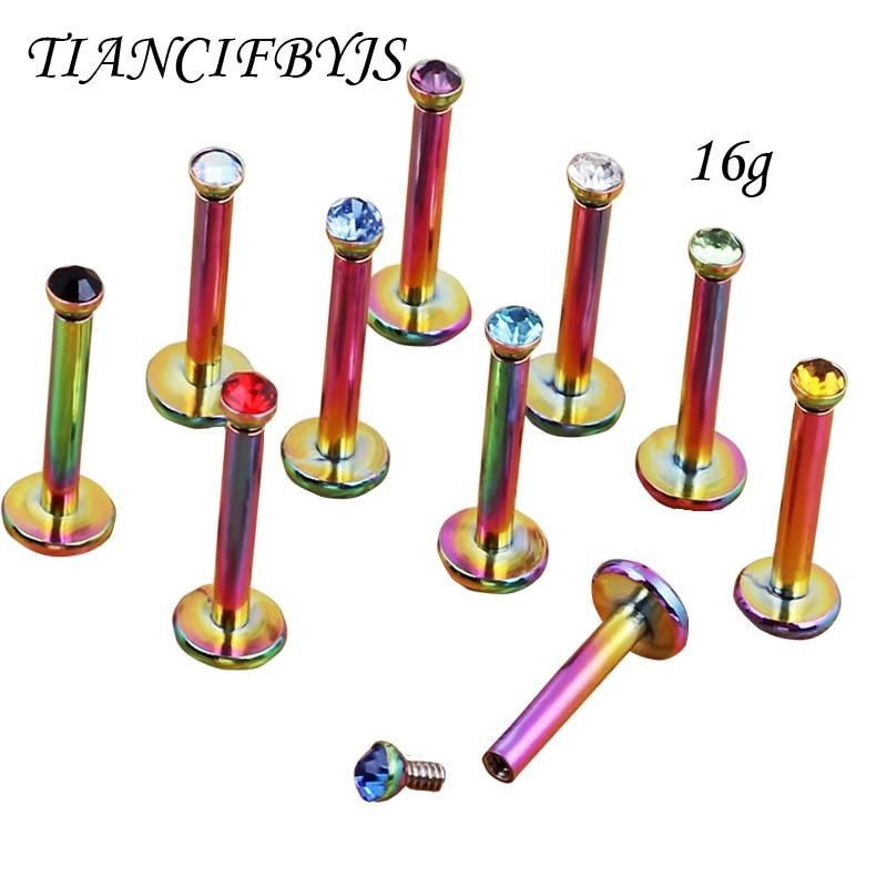 Stainless Steel Ball Top Lip Studs Tragus Ear Rings Monroe Bars Labret Rainbow internally Cartiltage Earrings