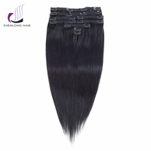 SHENLONG HAIR Remy Straight 100% Human Hair Weaving #1 Clip in Hair Extensions 9Pcs/Set Malaysian Hair 16 to 20 inch  Cheveux