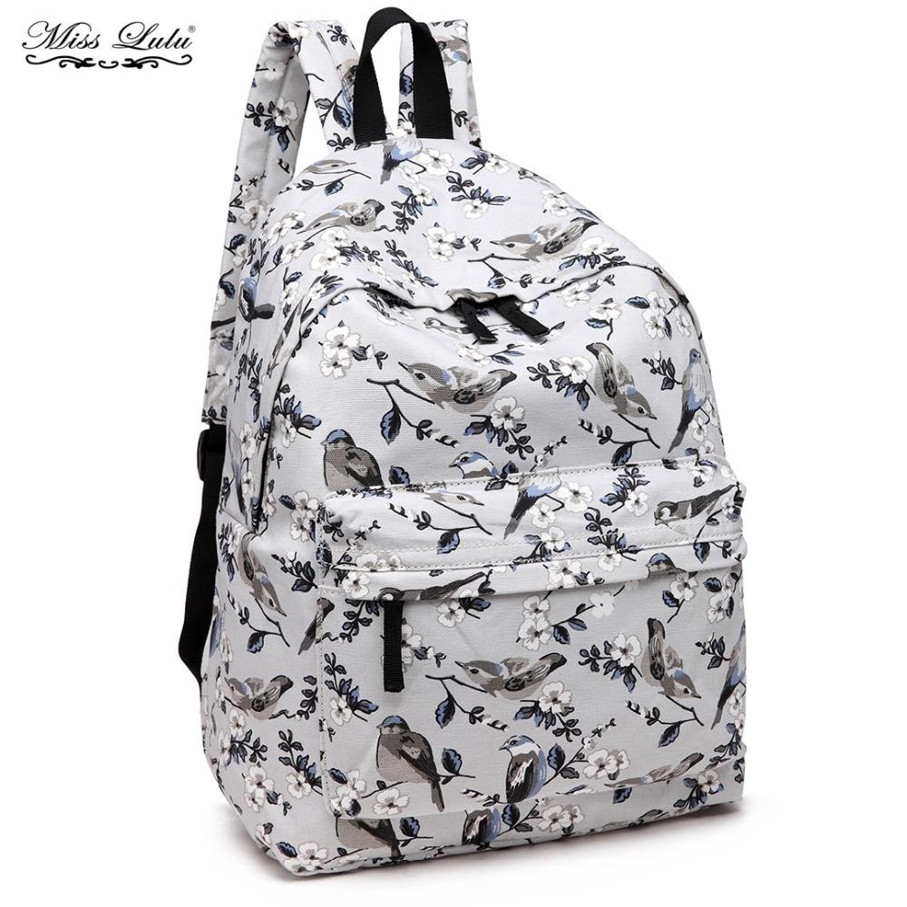 Miss Lulu Women Backpacks School Bags Teenagers Girls Flower Bird Canvas  Travel Rucksack Ladies Fashion Daypack 198ddf81b2