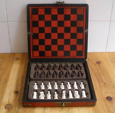 Tsing dynastie 3D Chessman Grace Vingtage échecs avec belle boîte en bois motif Dragon - 5