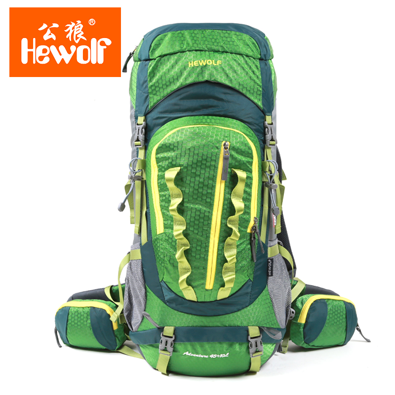 Hewolf Brand Outdoor mountaineering bag travel backpack men and women shoulder bag waterproof travel camping hiking bag 45 + 10L цена
