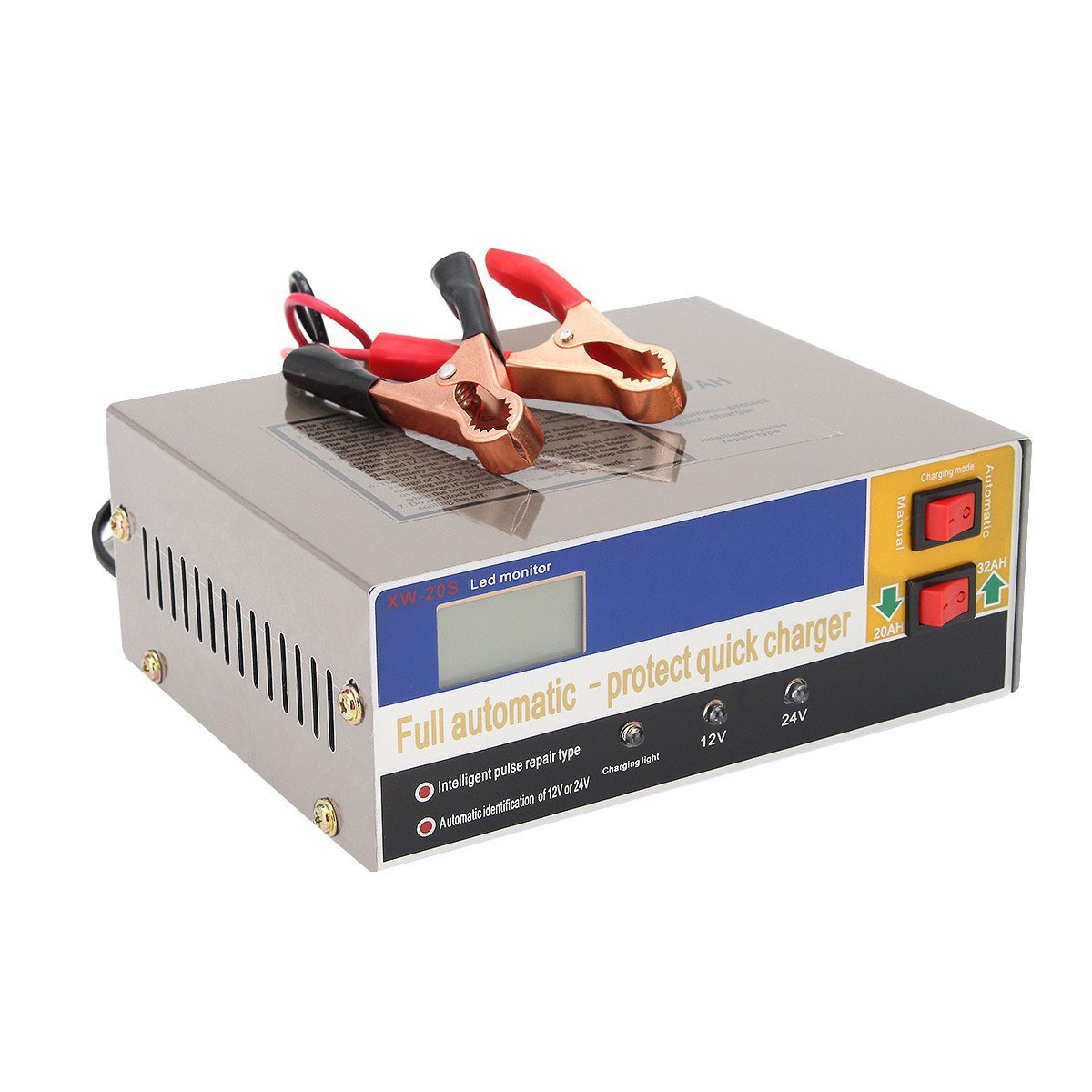 12V/24V Automatic Electric Car Battery Charger Intelligent Pulse Repair Type Battery Charger for Lead Acid Battery 100AH 350w 12v 24v 200ah portable electric car emergency charger booster intelligent pulse repair type abs lcd battery charge 2 modes