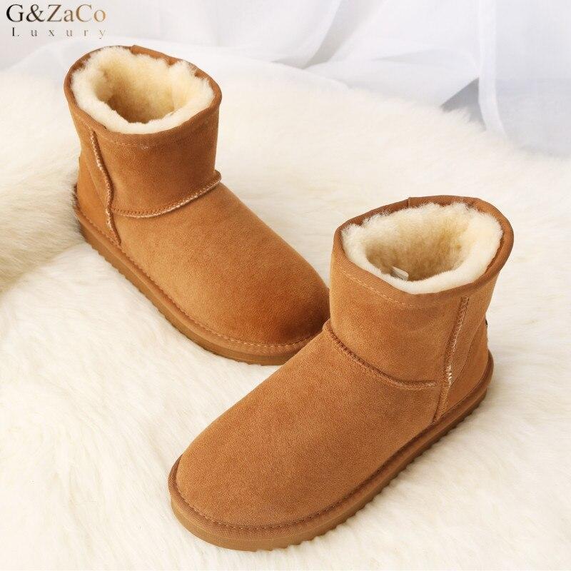 G Zaco Luxury Sheepskin Snow Boots Women Genuine Leather Short Boots Waterproof Winter Wool Sheep Fur