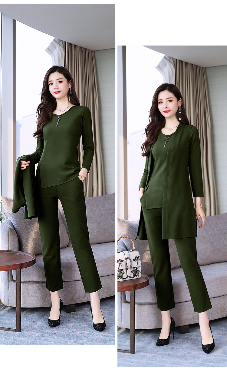 Spring Autumn 3 Piece Set Women Long Coat T-shirt And Pants Sets Casual Elegant Three Piece Sets Suits Women's Costumes 57