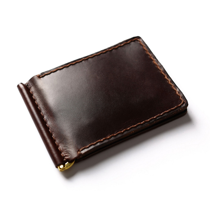 Handmade Brand Real Leather Money Clip Wallet Vintage with Stainless Steel Men Holder Dollar
