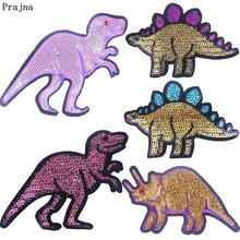 Prajna Cartoon Dinosaur Sequined Patches Jurassic Park Style Iron On For Clothing Accessories Kid T-shirt DIY