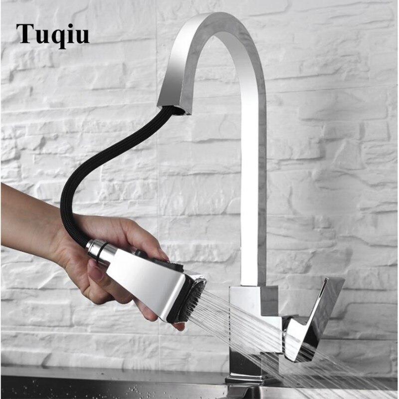 Nouvellement arrivé tirer sur le robinet de cuisine or/Chrome/nickel/noir évier mélangeur robinet 360 degrés rotation cuisine mélangeur robinets cuisine robinet