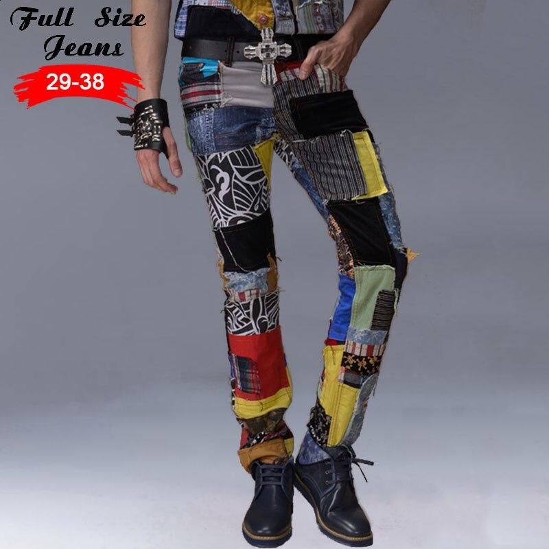 96fe8aefd7 Parche de Color Costura Jeans Agujero Rasgado Vaqueros Coloridos Pantalones  de Mezclilla Slim Fit Moda Pantalones Largos Rectos en Pantalones vaqueros  de ...