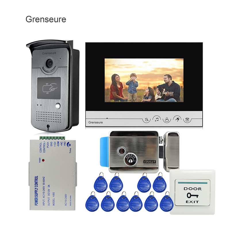 Free Shipping 7 LCD Screen Video Door Phone Intercom System + Metal RFID Reader Access Doorbell Camera + Electric Control Lock free shipping 7 lcd video door phone intercom system 2 screens rfid access code keypad password camera electric control lock