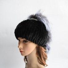 Женщины зима норки меховая шапка настоящее трикотажные норки silver fox меховой шапки женщина россии теплый шапочки hat 2017 новый женский мех шляпа