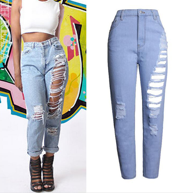 Aliexpress.com : Buy Womens High Waisted Ripped Hole Jeans New ...