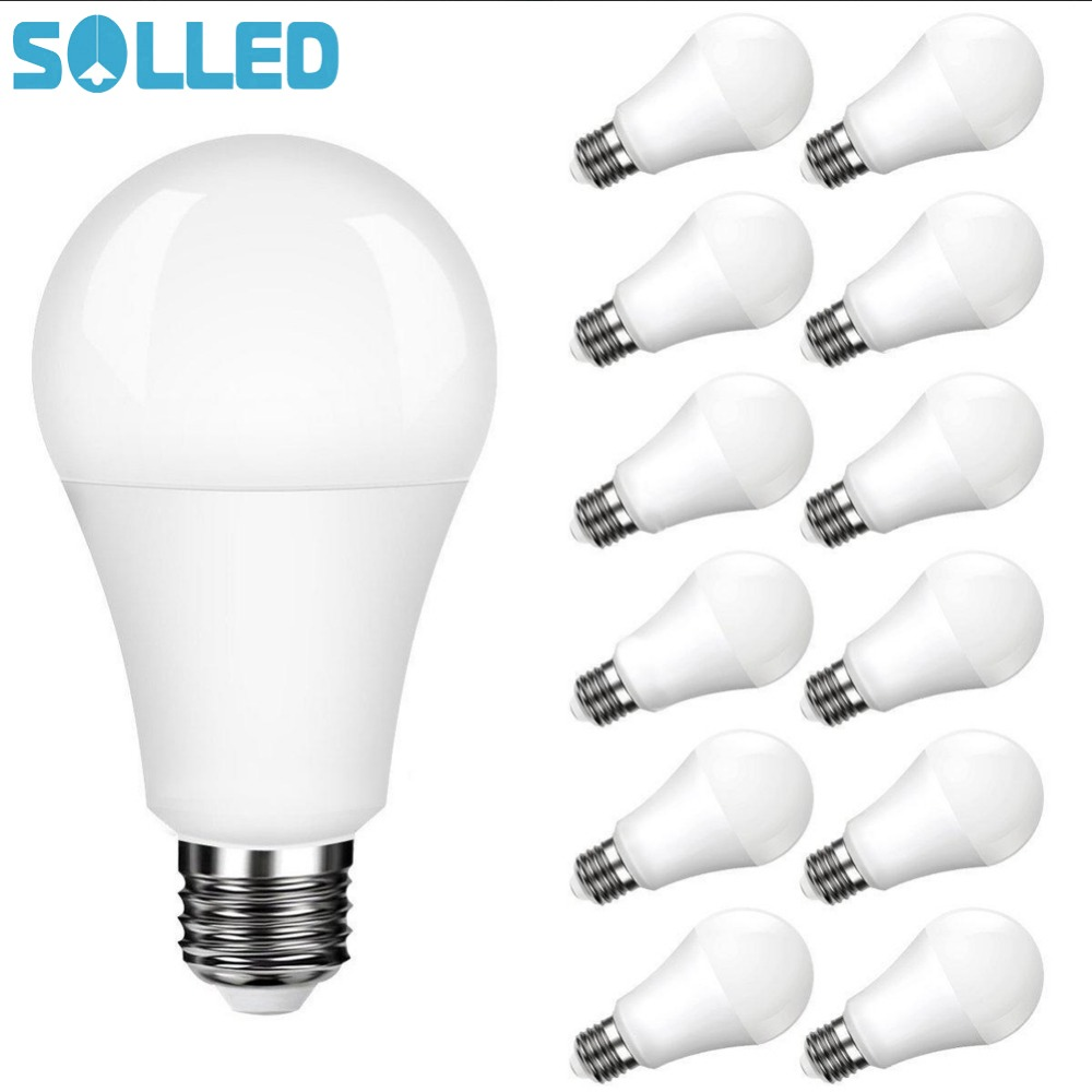 SOLLED LITAKE 12 Packed A19 E26 E27 Base LED Light Bulb Non dimmable Daylight White 5000K 100 Watt Equivalent 11W CRI 80 15w dimmable led br40 light bulb e27 e26 screw base wide beam angle 120 degrees 100w halogen bulb equivalent
