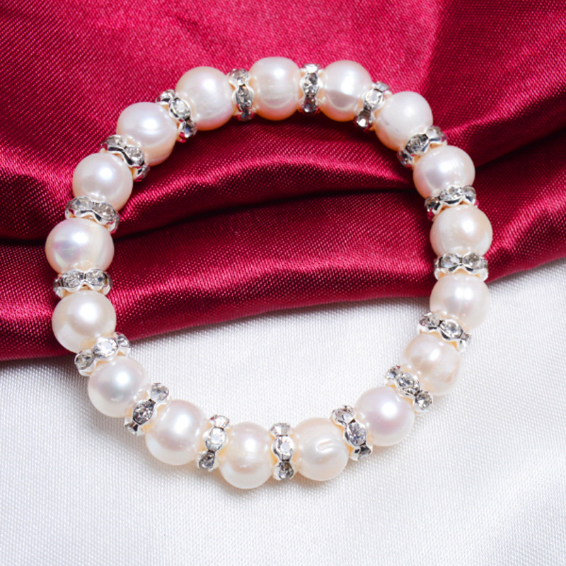 ASHIQI 9-10mm Real Freshwater Pearl Armband för kvinnor Charm - Fina smycken - Foto 5
