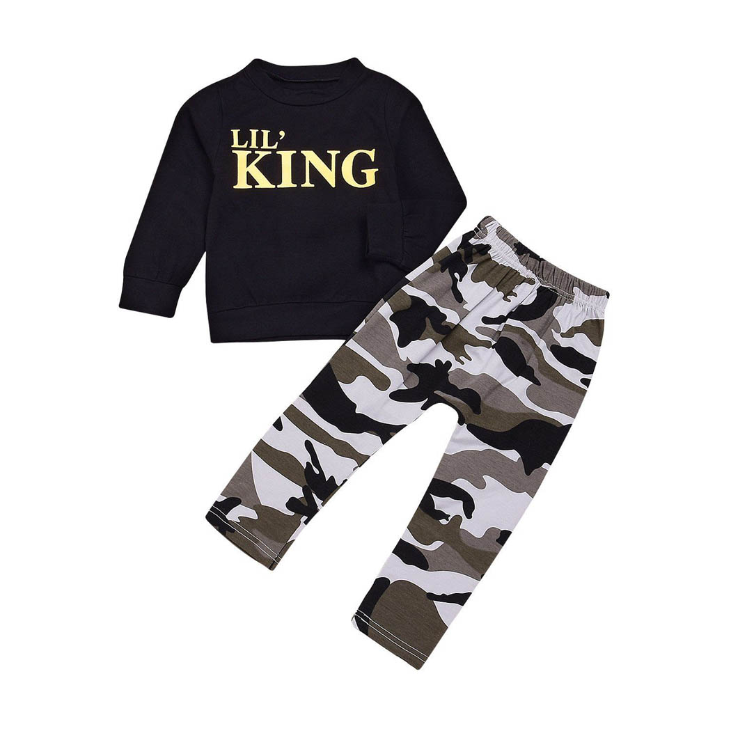 2PCS Toddler Infant Baby Boys King T-Shirt Tops+Long Pants Clothes Set Outfits