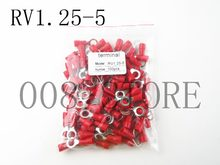 Cincin Terisolasi Konektor Terminal Blok 100 PCS RV1.25-5 Red Kabel Kawat Listrik Crimp Terminator A.W.G 22-16 Cap(China)