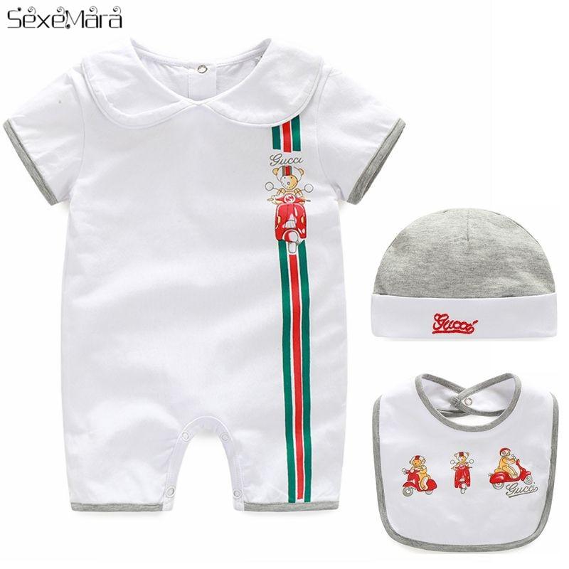 Baby Boy Girl Clothes Cotton Cartoon Short-Sleeved   Romper   Newborn Jumpsuit+Hat+Bib Three-piece New Born Baby Clothes