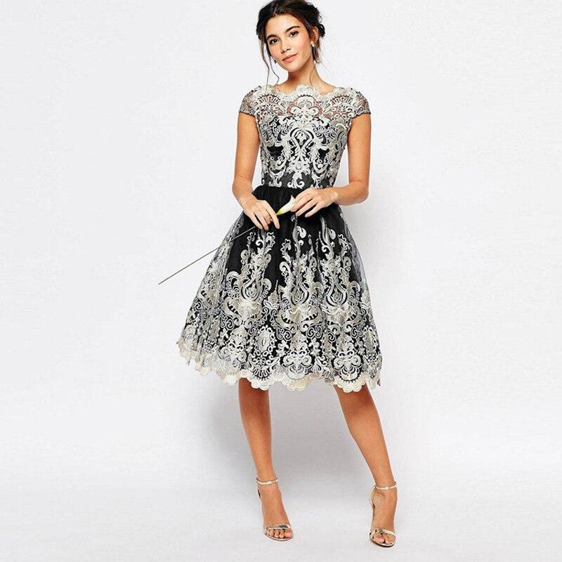 Vnaix X014 Elegant Short Sleeves Lace Prom Evening Party Dresses