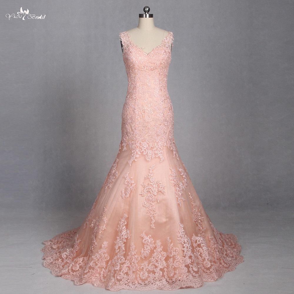 Lz186 Cantaloupe Encaje Vestidos de novia sirena opacidad volver ...
